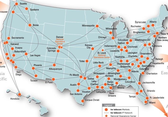 CenturyLink Said To Be Eyeing Tw Telecom Telecom Ramblings - Us fiber map