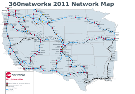 the 18 000 mile intercity fiber network of 360networks will act to hook up most of zayo s more disconnected fiber ets across the western us